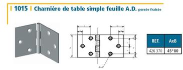 CHARNIERE DE TABLE 45x80MM - ACIER DECAPE