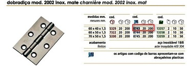 CHARNIERE INOX MAT - BLISTER 2 PIECES