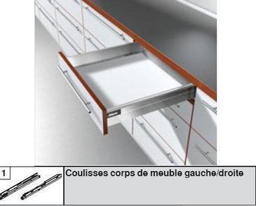 Systeme BLUM ANTARO pour tiroir à Coté Métallique